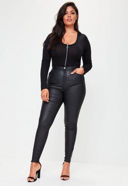 Plus Size Sinner Beschichtete Skinny-Jeans in Schwarz