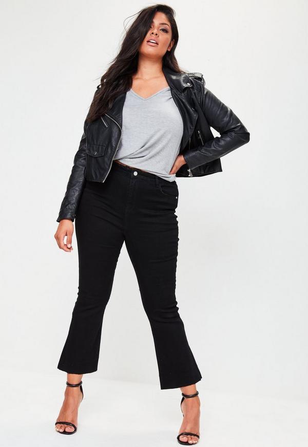 Plus Size Black Cropped Kick Flare Jeans