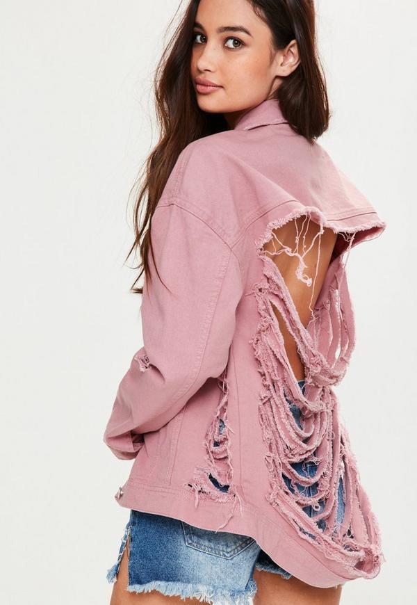 Pink Shredded Back Denim Jacket