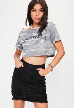 Black Lace Hem Ripped Denim Mini Skirt