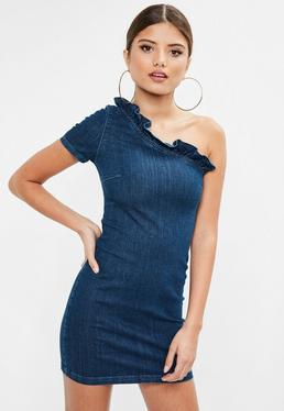 Blue One Shoulder Frill Denim Dress