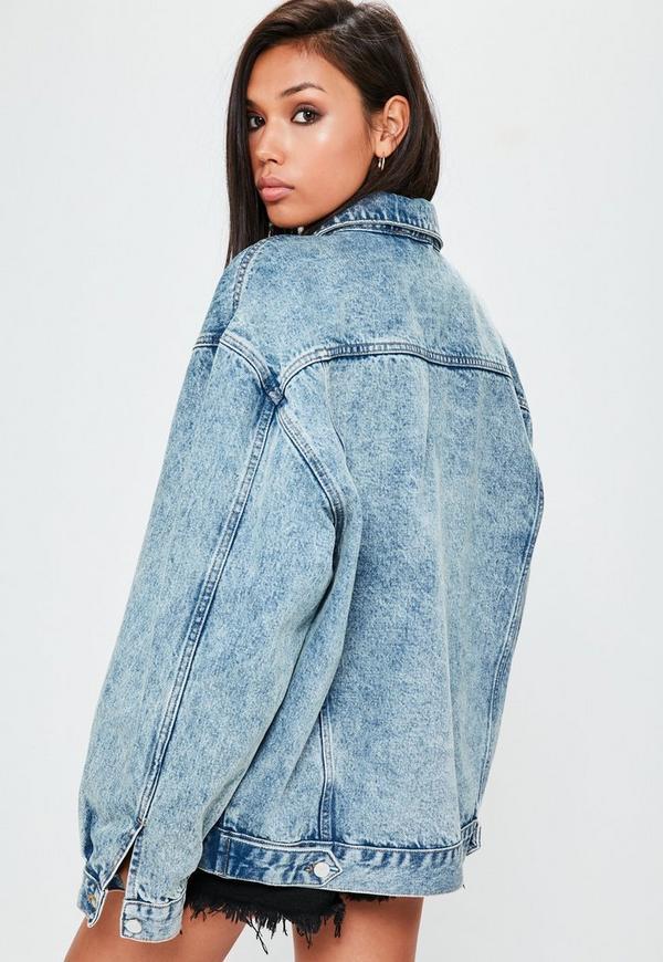 Blue Drop Shoulder Oversized Denim Jacket Missguided