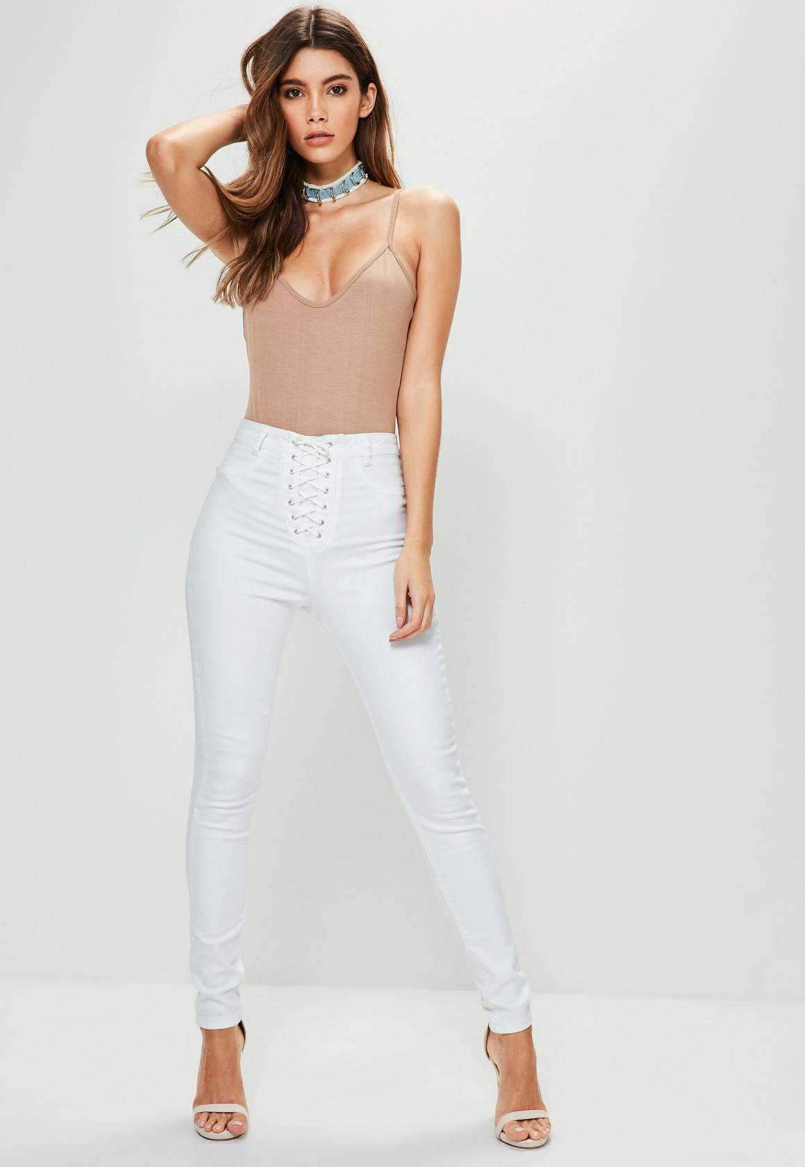 White Vice High Waisted Lace Up Skinny Jeans | Missguided