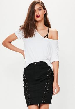 Black Lace Up Denim Midi Skirt