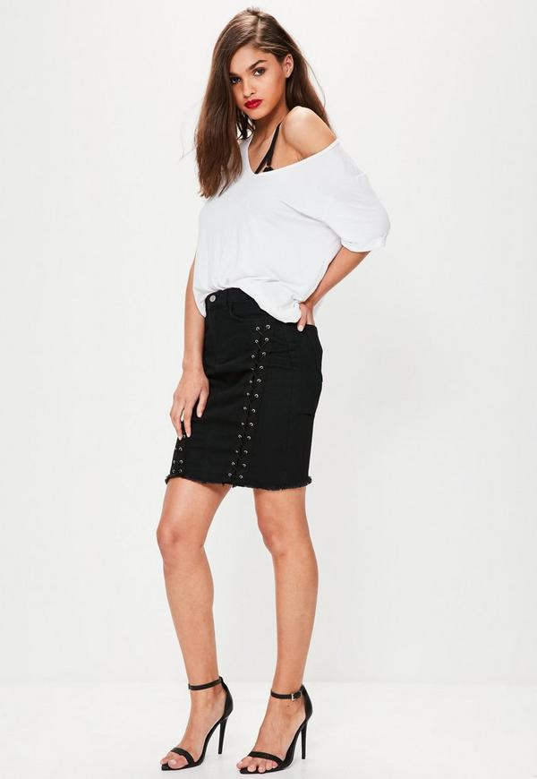 Black Lace Up Denim Midi Skirt | Missguided