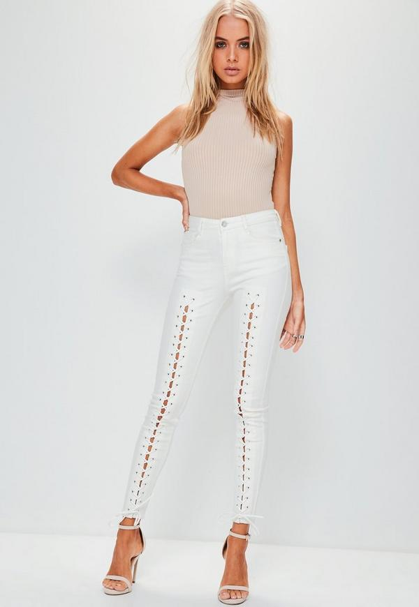White Hustler Mid Rise Lace Up Super Skinny Jeans