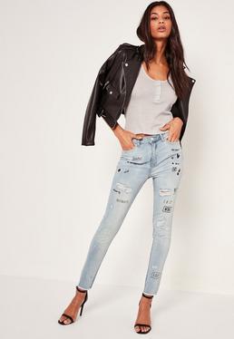 Blue Sinner High Waisted Graffiti Skinny Jeans