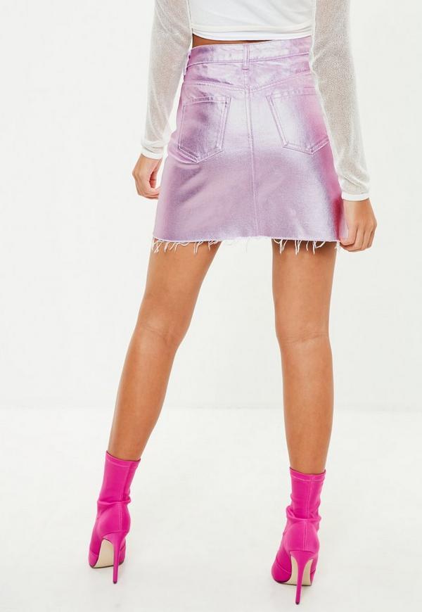pink coated metallic denim mini skirt missguided