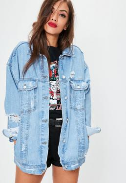 Oversized Boyfriend Denim Jacke in Blau