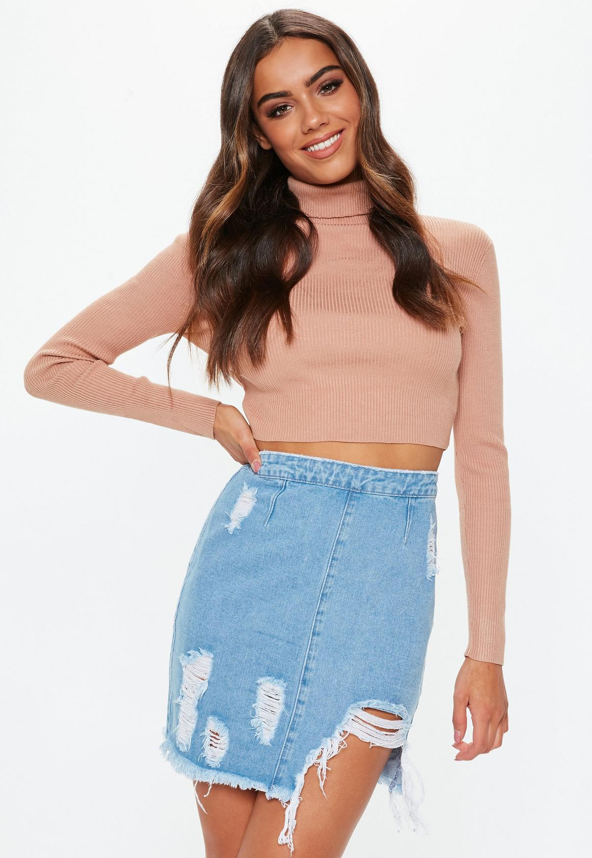 Blue Busted Hem Ripped Denim Mini Skirt | Missguided