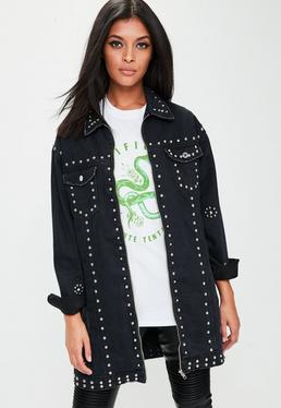 Black Studded Longline Denim Jacket