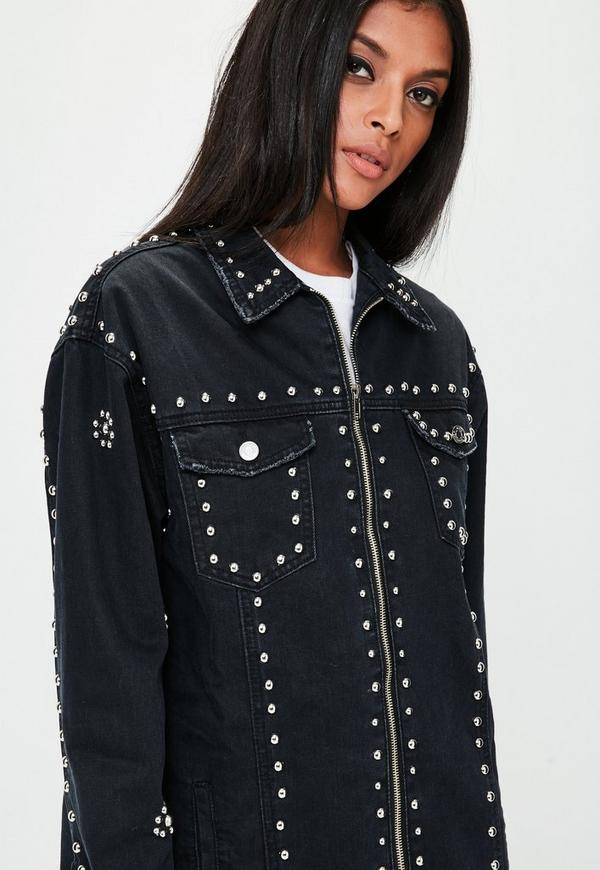 Black Studded Longline Denim Jacket Missguided
