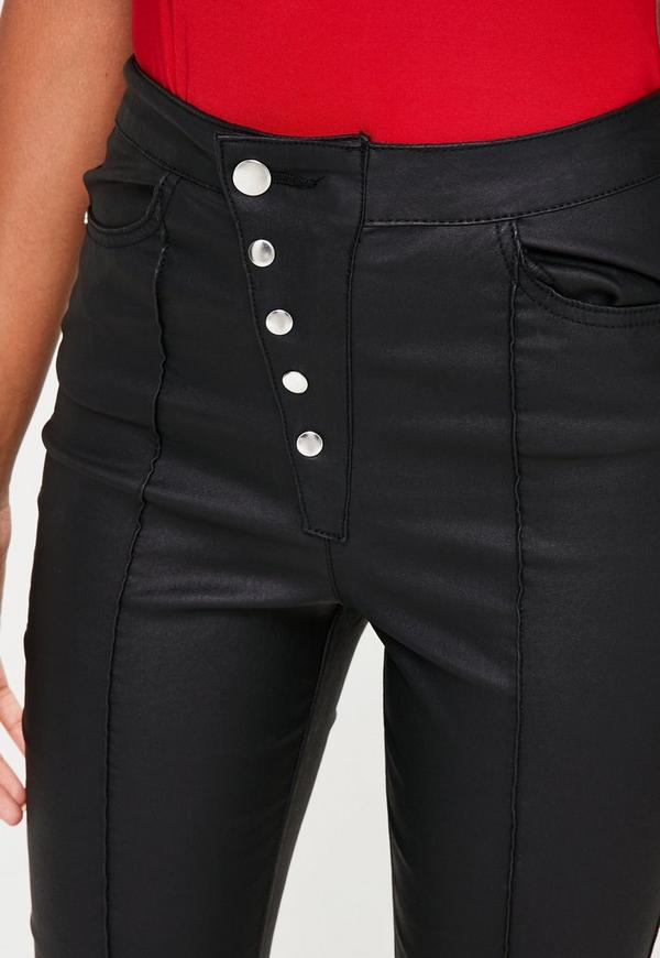 Black Vice High Waist Coated Button Up Skinny Jean ...
