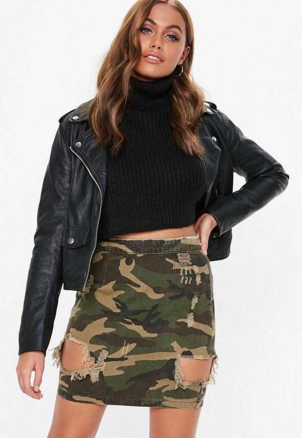 Khaki Camo Ripped Denim Mini Skirt