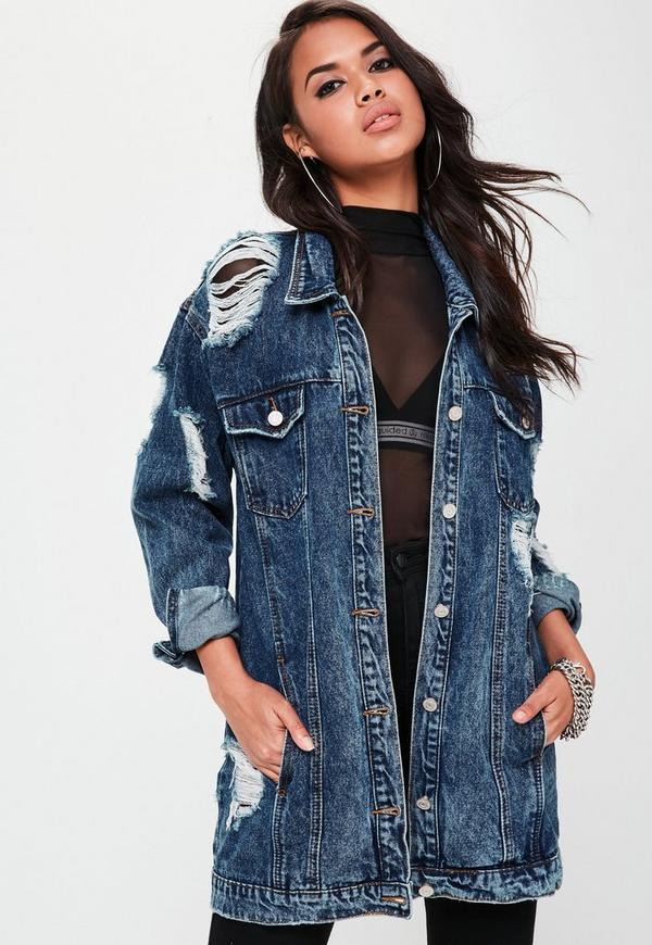 veste en jean bleue destroy longue missguided. Black Bedroom Furniture Sets. Home Design Ideas