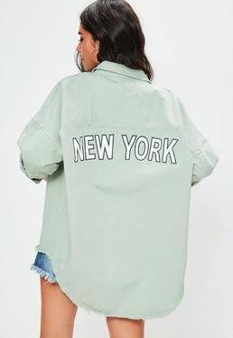 Green Slogan Back Oversized Denim Shirt