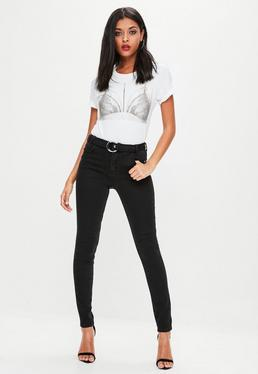 Black Sinner Ring Belted Skinny Jeans