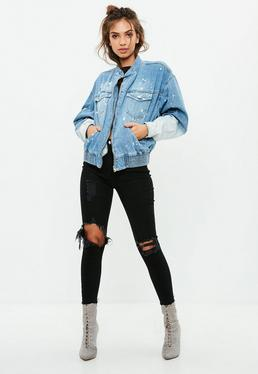 Blue Bleached Denim Bomber Jacket