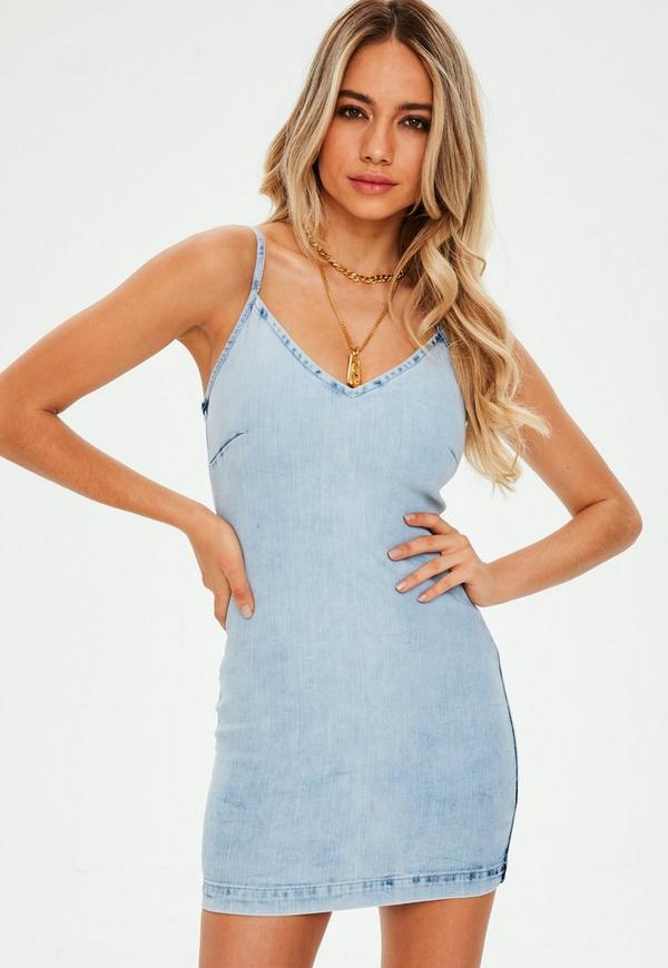 11ab5699672 Blue Acid Wash Cami Bodycon Mini Dress. Previous Next