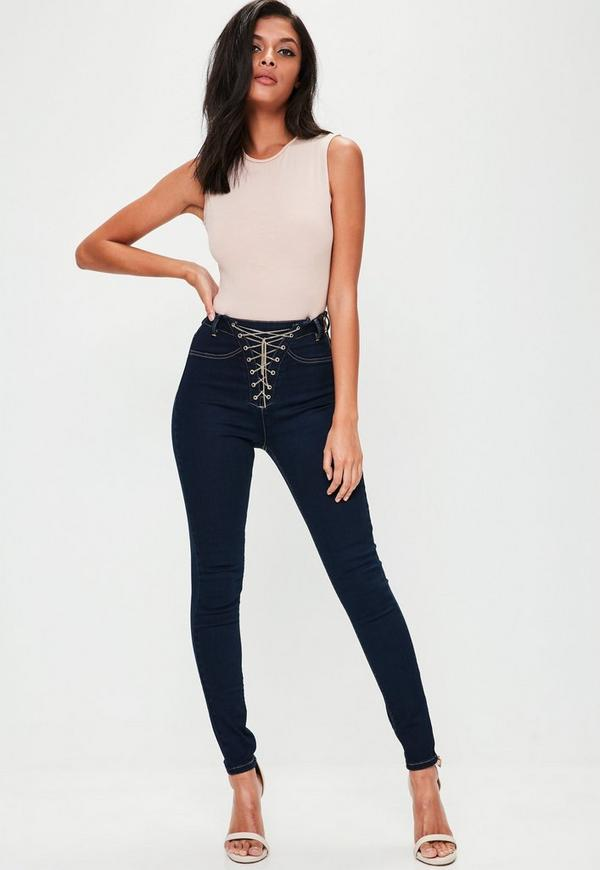 Blue Vice High Waist Chain Lace Up Skinny Jeans