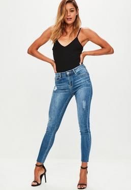Dark Blue Sinner High Waisted Skinny Jeans