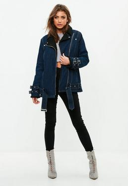 Blue Borg Lined Denim Aviator Jacket