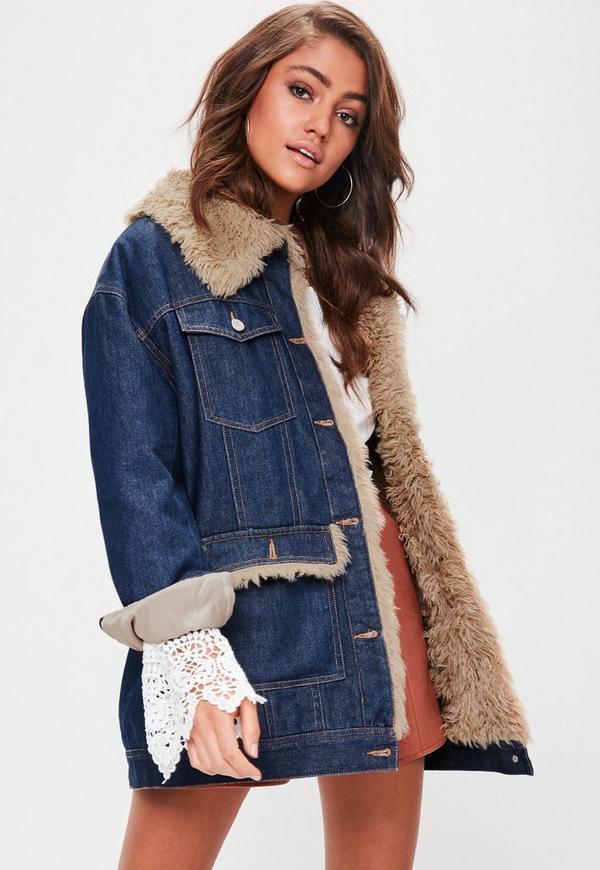 Bagatelle レディース Jackets 送料無料 Blue Faux-Fur Collar Denim Jacket