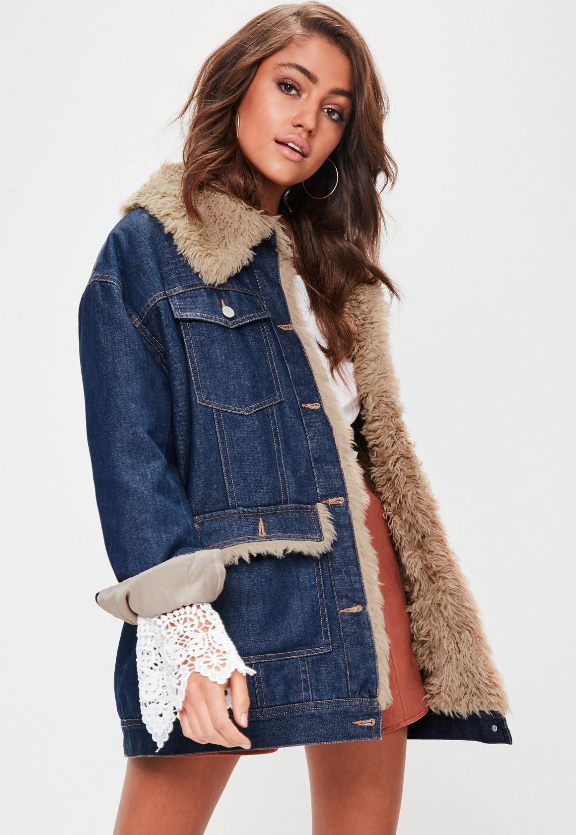 Blue Faux Fur Lined Denim Jacket | Missguided Ireland