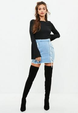 Blue Double Lace Up Denim Mini Skirt