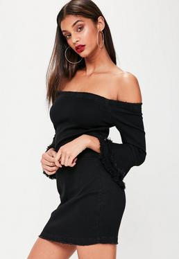 Black Denim Bardot Dress