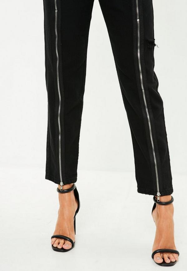 schwarze riot jeans mit rei verschluss am bein missguided. Black Bedroom Furniture Sets. Home Design Ideas