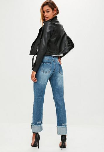 blue ripped mid rise boyfriend jeans missguided. Black Bedroom Furniture Sets. Home Design Ideas