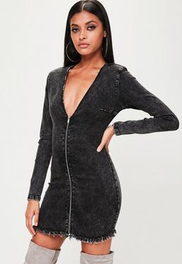 Black Power Shoulder Denim Mini Dress
