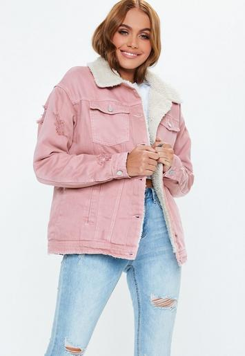 Missguided Pink Borg Lined Denim Jacket, Pink