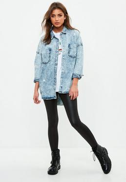 Camisa vaquera oversize de efecto lavado en azul