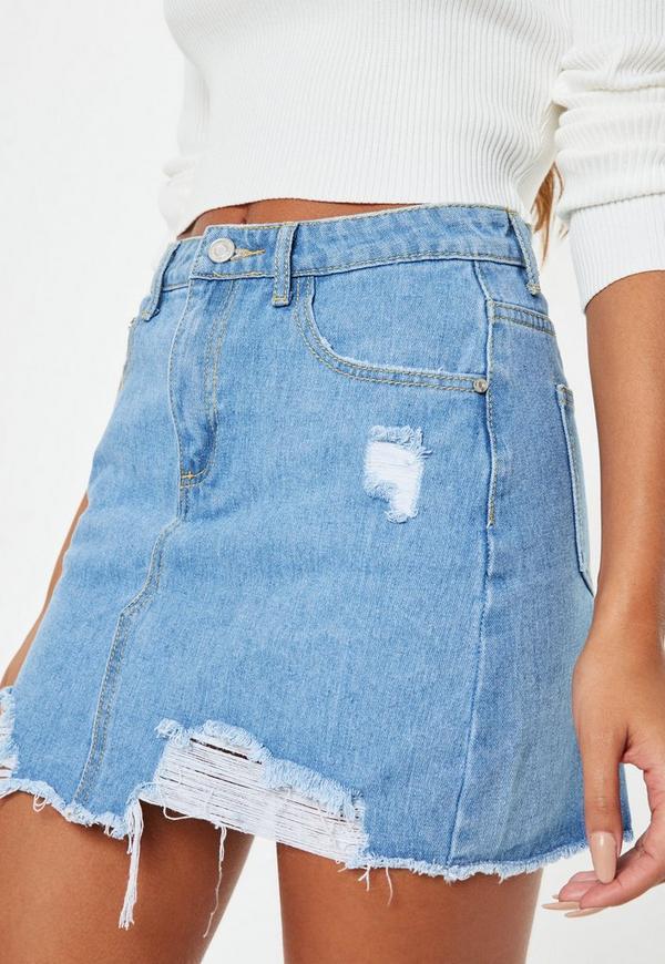 Light Blue Ripped A Line Denim Micro Mini Skirt Missguided