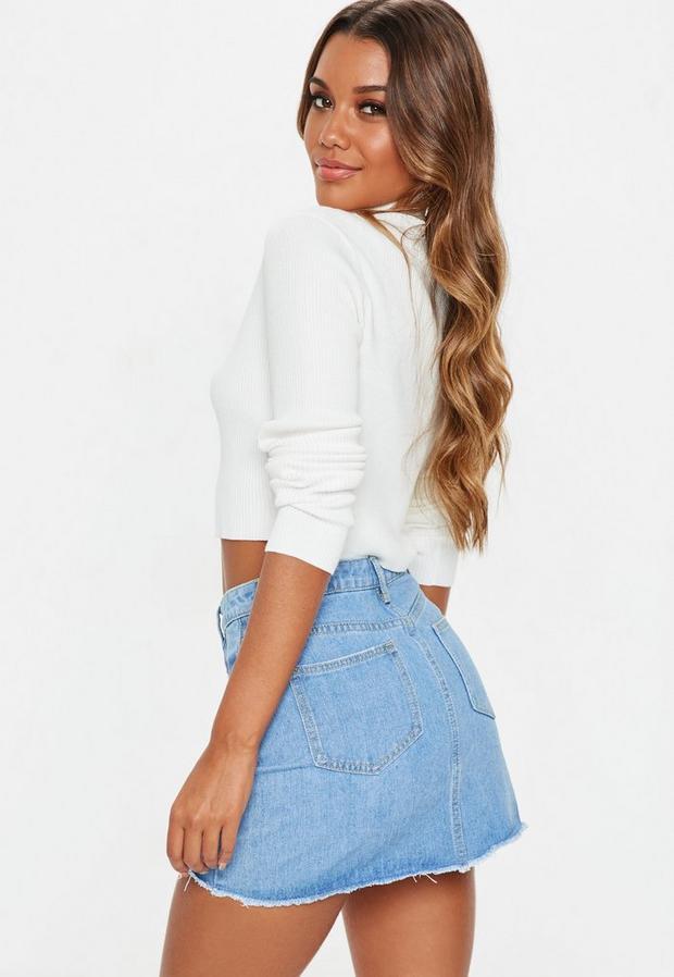 Missguided - Ripped A Line Denim Micro Mini Skirt - 4