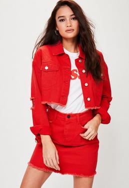 Red Cropped Drop Shoulder Denim Jacket