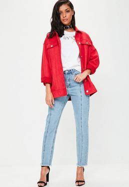 Blaue Riot High-Rise Mom Jeans mit Vordernaht