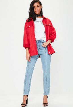 Blue Riot High Rise Seam Front Mom Jeans