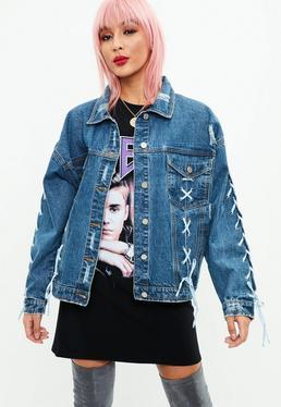 Blue Lace Up Oversized Denim Jacket