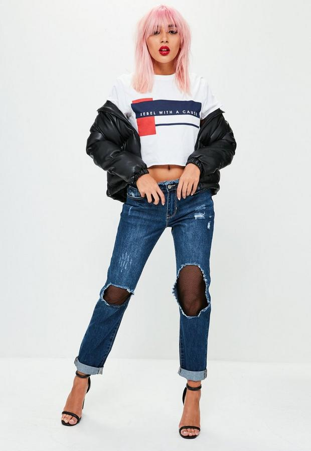 Product photo of Blue low rise ripped mesh boyfriend jeans blue