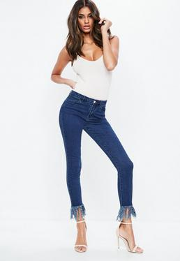 Blue Denim Anarchy Mid Rise Frayed Skinny Jeans