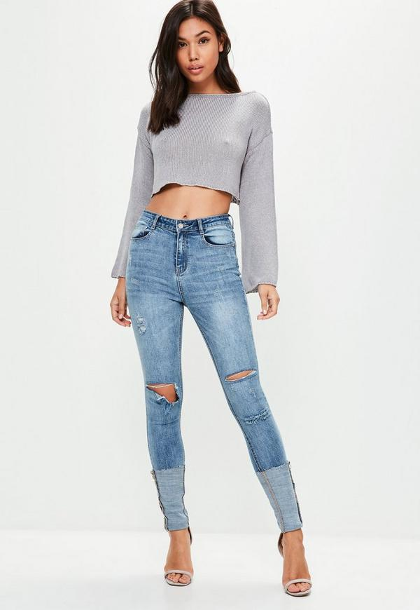 Blue Sinner High Waisted Turn Up Skinny Jeans by Missguided