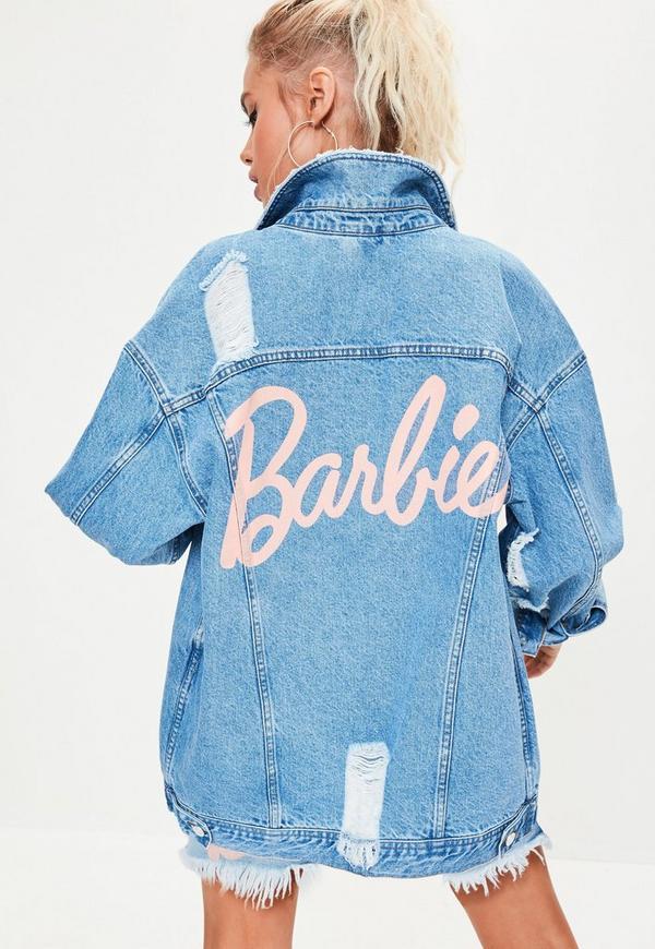 Barbie X Missguided Blue Long Sleeve Printed Back Denim