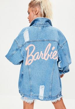 Barbie x Missguided Blue Long Sleeve Printed Back Denim jacket