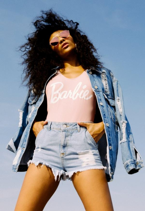 Barbie X Missguided Blue Long Sleeve Printed Back Denim