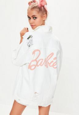 Barbie x Missguided Ivory Long Sleeve Printed Back Denim Jacket