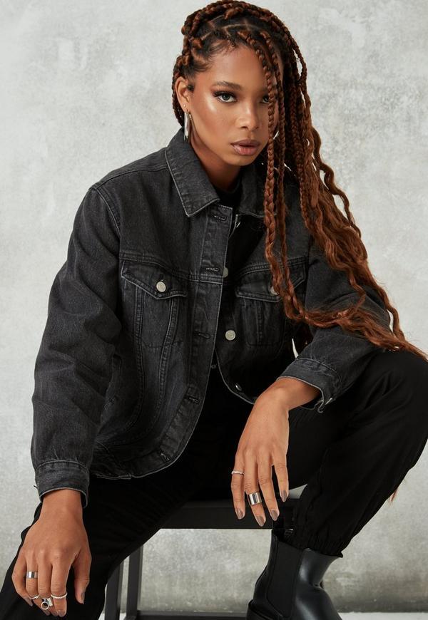 Jeansjacke schwarz oversize