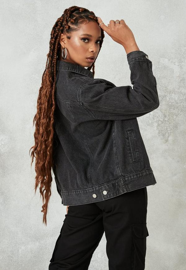 a8e190e9256bc Washed Black Oversized Denim Jacket. Previous Next